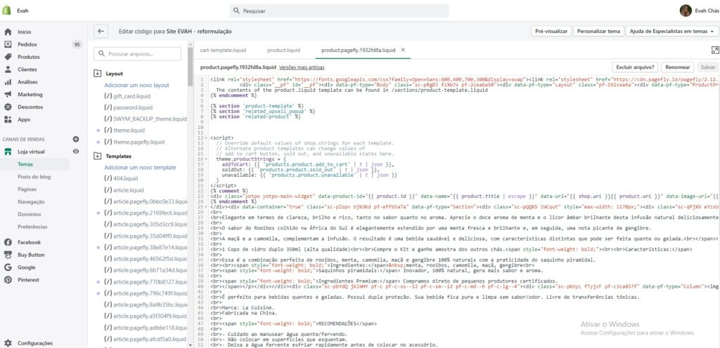 Editando CSS do Shopify