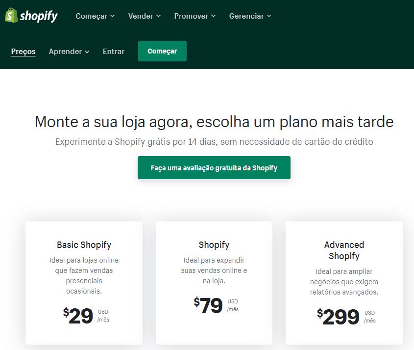 shopify preços