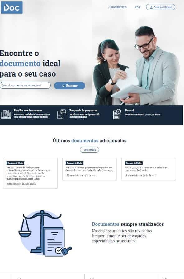 Exemplo de uma página de site - Documentos.com.br | O que é um blog