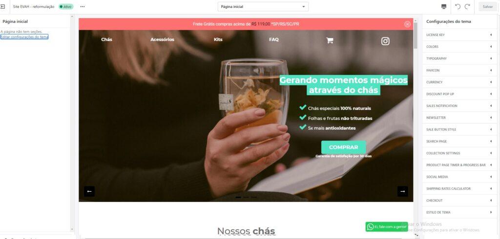 Personalizar é a ferramenta do Shopify para personalização de temas.