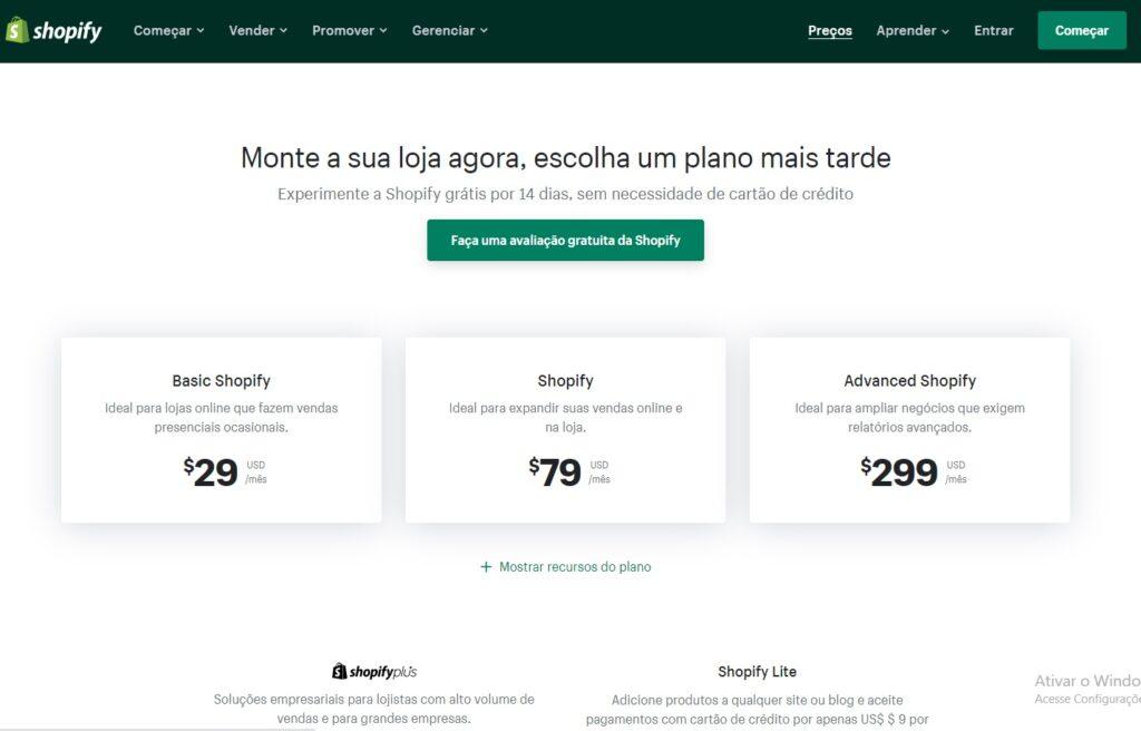 Preços do Shopify
