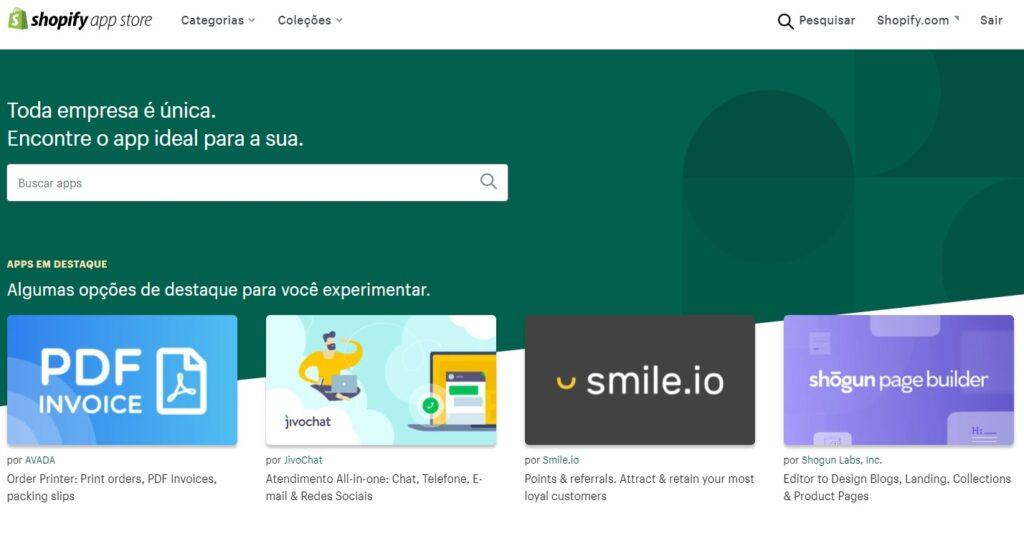 loja de aplicativos do shopify