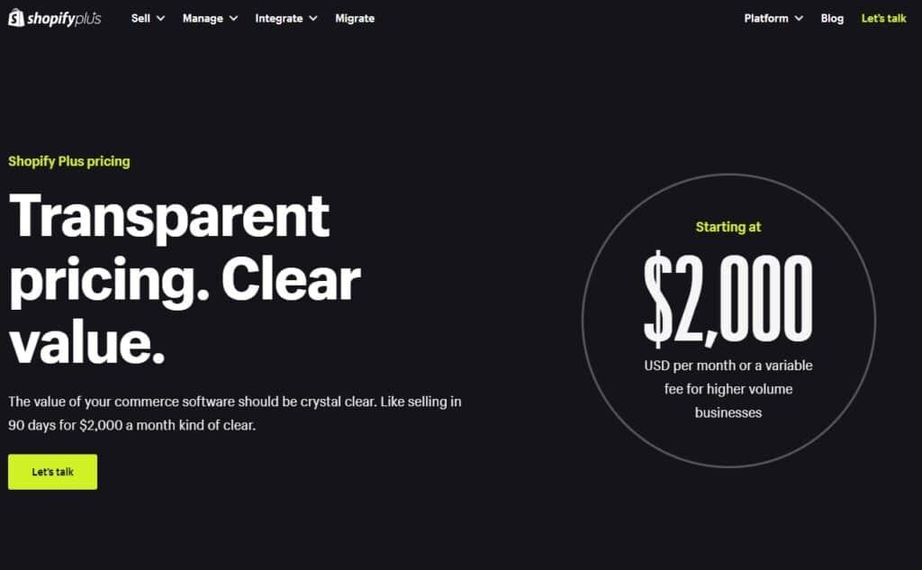 Shopify Plus - preços começam em $2.000,00