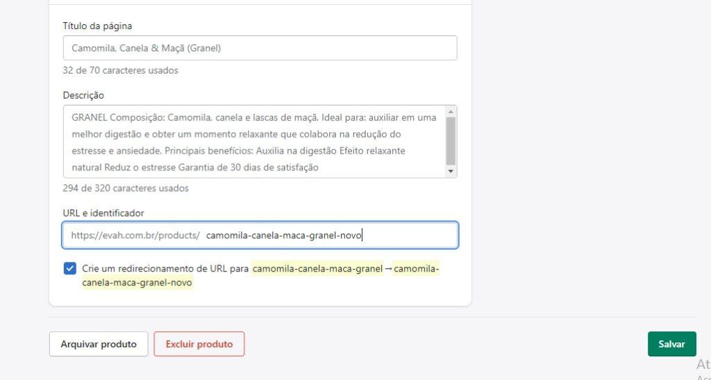 Alteração de URL dentro do Shopify