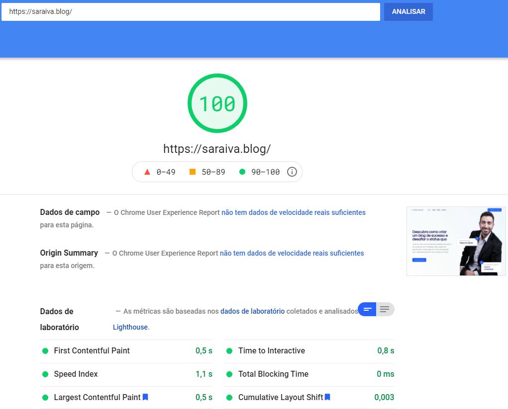 Teste no PageSpeed Insights do Google | 10 estratégias de SEO
