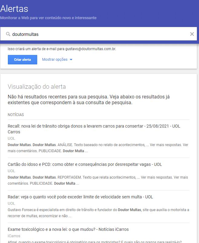 Crie seu primeiro Alerta no Google Alerts