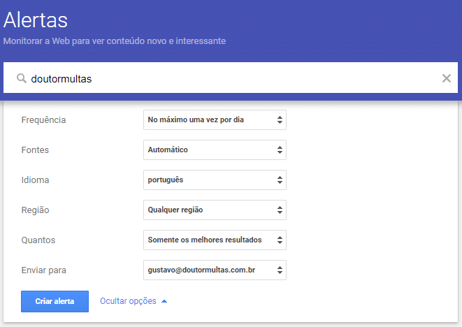 Edite seu Alerta do Google