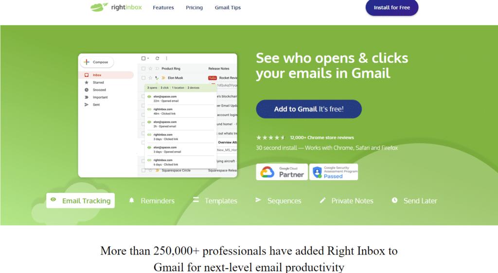RightInbox   5 melhores extensões do Gmail