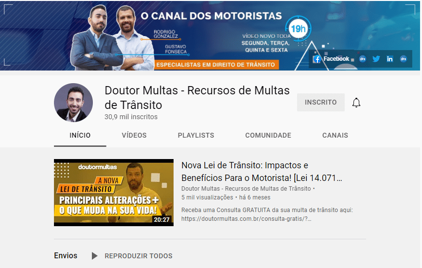 Marketing do Youtube - Canal do Doutor Multas